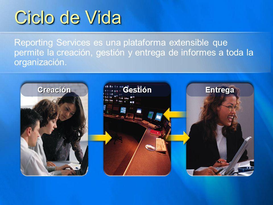 Ciclo de Vida Reporting Services es una plataforma extensible que permite la creación, gestión y entrega de informes a toda la organización.
