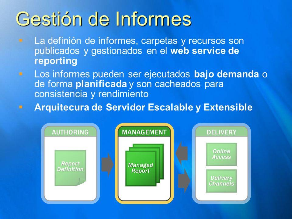 Gestión de Informes La definión de informes, carpetas y recursos son publicados y gestionados en el web service de reporting.