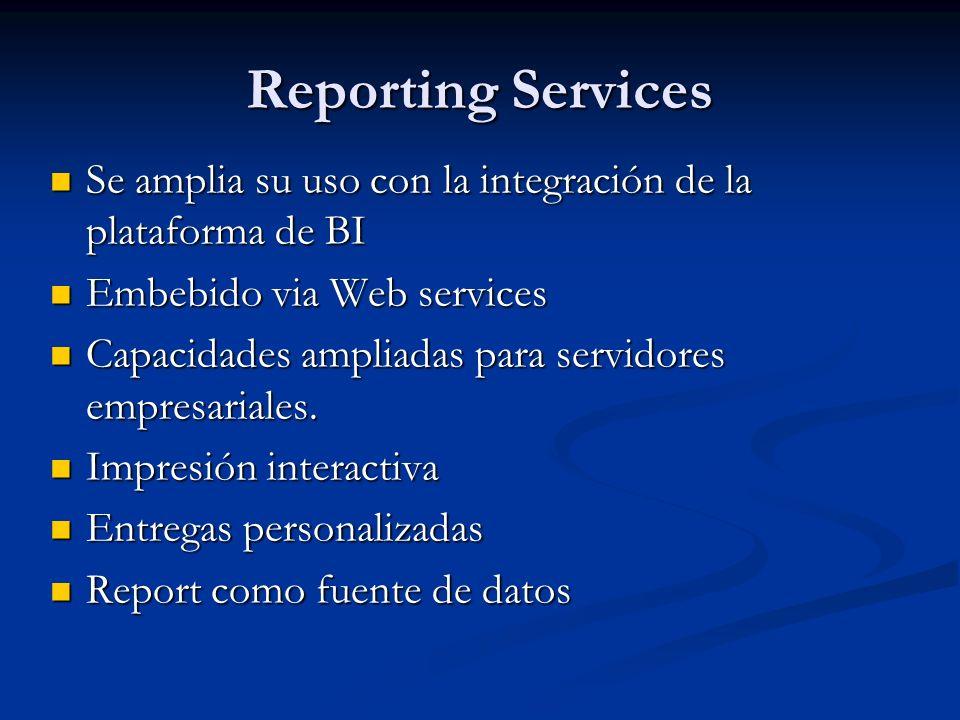 Reporting Services Se amplia su uso con la integración de la plataforma de BI. Embebido via Web services.