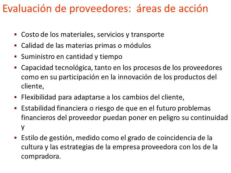Evaluación de proveedores: áreas de acción
