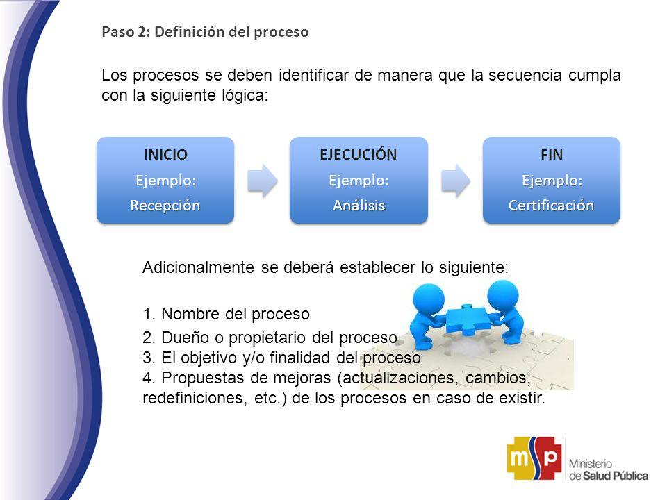 Paso 2: Definición del proceso