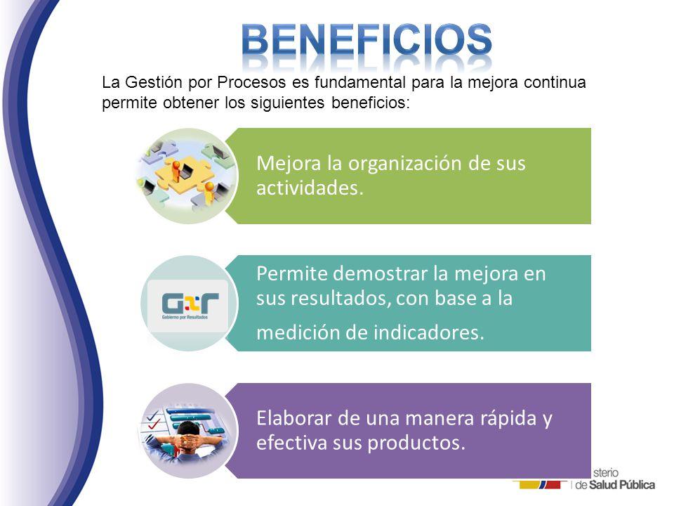 BENEFICIOS La Gestión por Procesos es fundamental para la mejora continua. permite obtener los siguientes beneficios: