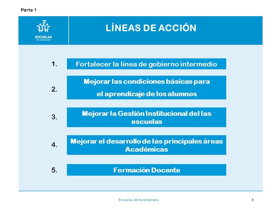 LÍNEAS DE ACCIÓN 1. Fortalecer la línea de gobierno intermedio