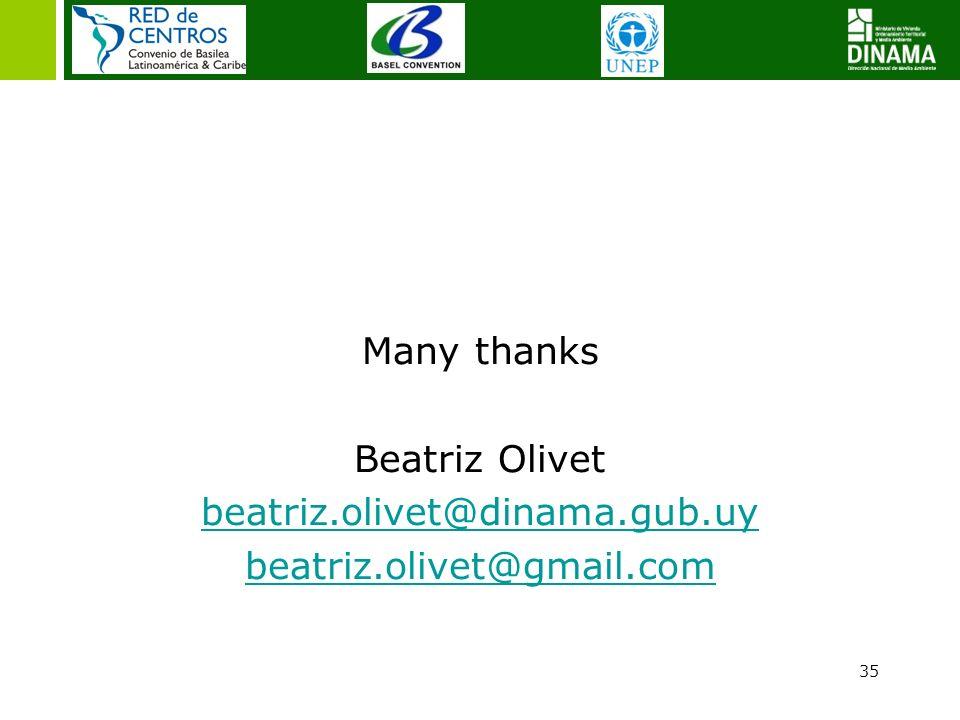 Many thanks Beatriz Olivet beatriz. olivet@dinama. gub. uy beatriz