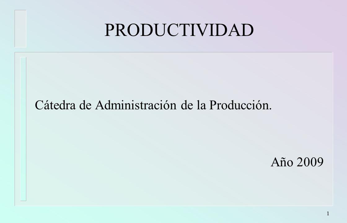 PRODUCTIVIDAD Cátedra de Administración de la Producción. Año 2009