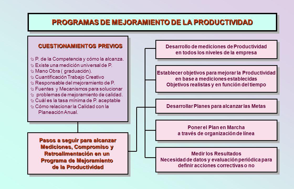 PROGRAMAS DE MEJORAMIENTO DE LA PRODUCTIVIDAD