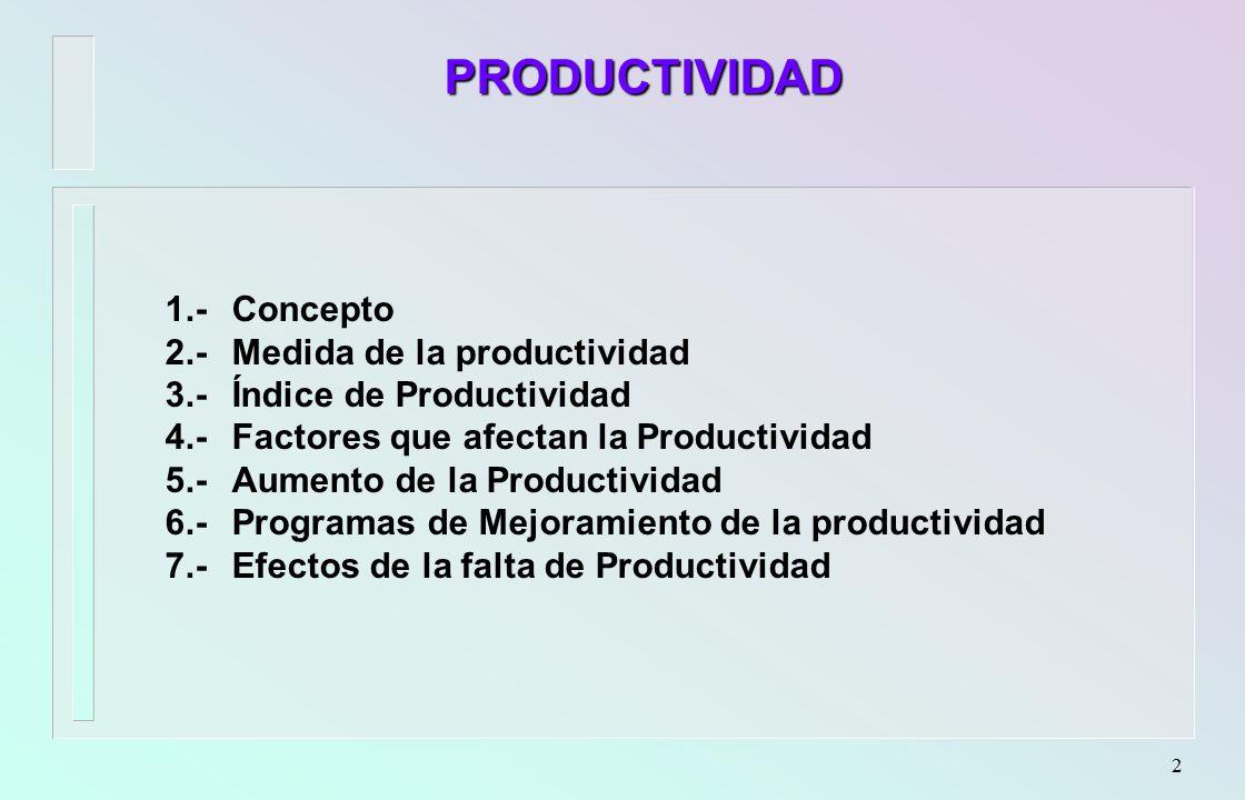 PRODUCTIVIDAD 1.- Concepto 2.- Medida de la productividad