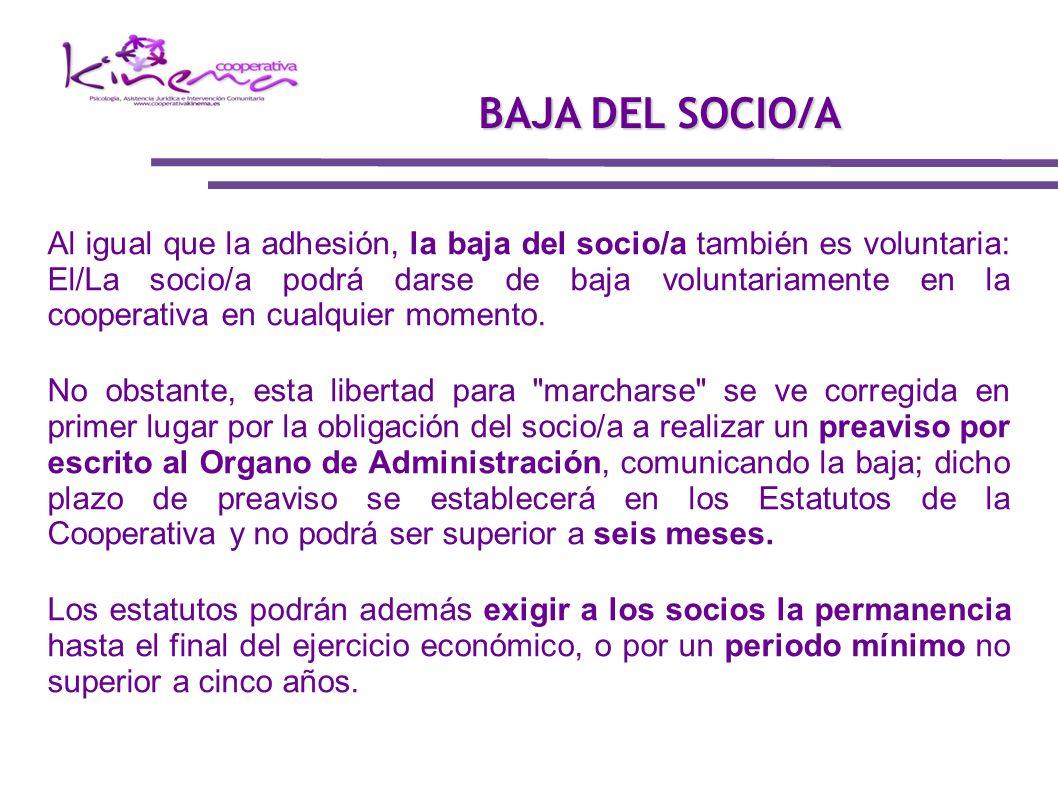 BAJA DEL SOCIO/A