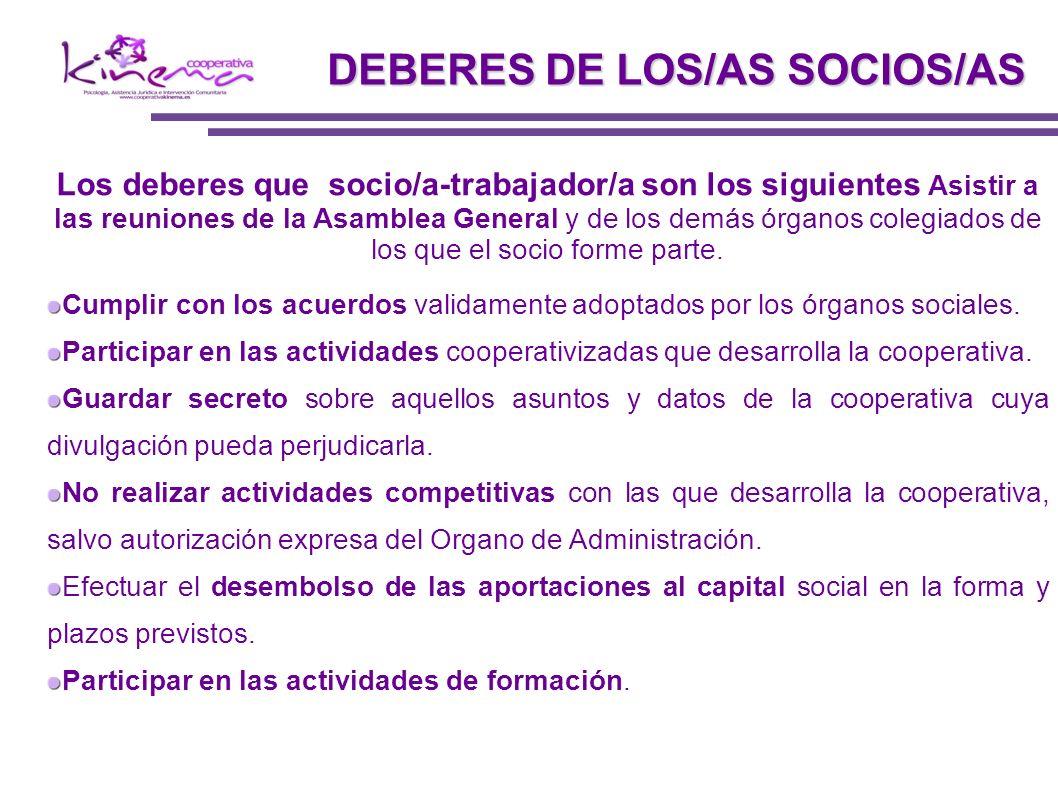 DEBERES DE LOS/AS SOCIOS/AS