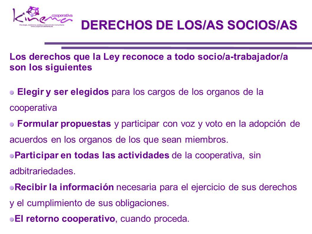 DERECHOS DE LOS/AS SOCIOS/AS