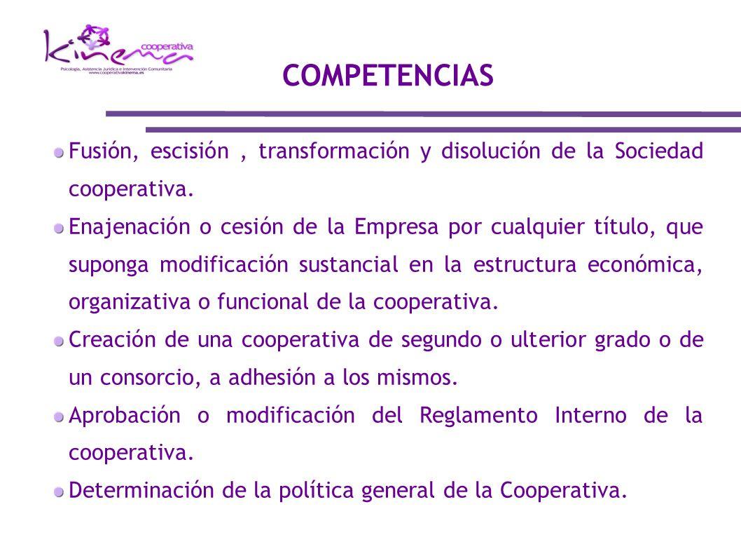 COMPETENCIAS Fusión, escisión , transformación y disolución de la Sociedad cooperativa.