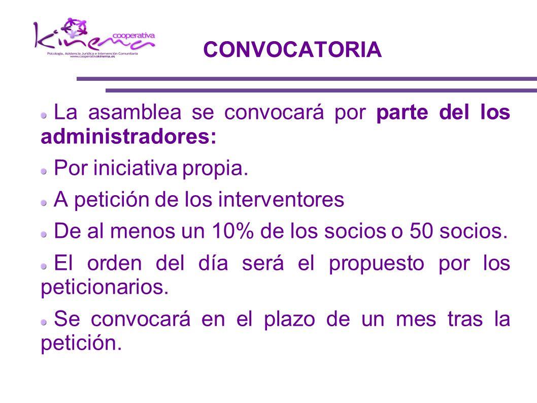 CONVOCATORIA La asamblea se convocará por parte del los administradores: Por iniciativa propia. A petición de los interventores.