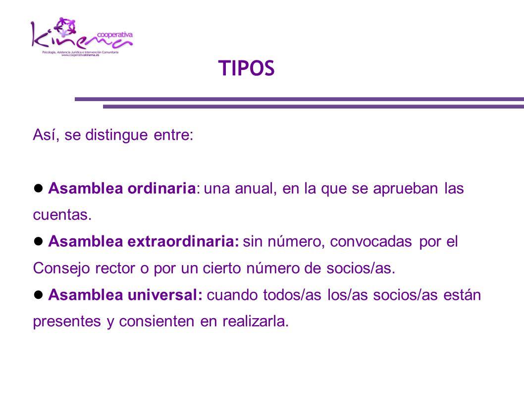 TIPOS Así, se distingue entre: