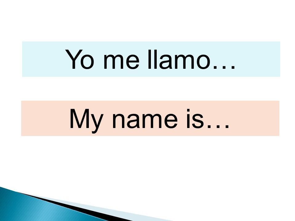 Yo me llamo… My name is…