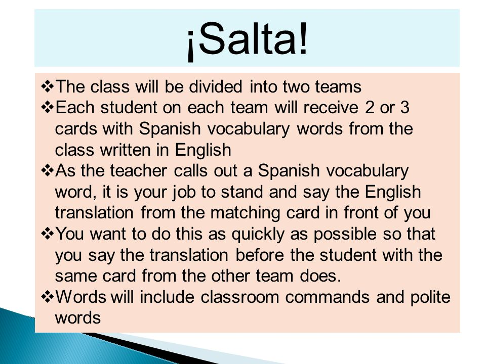 ¡Salta! The class will be divided into two teams