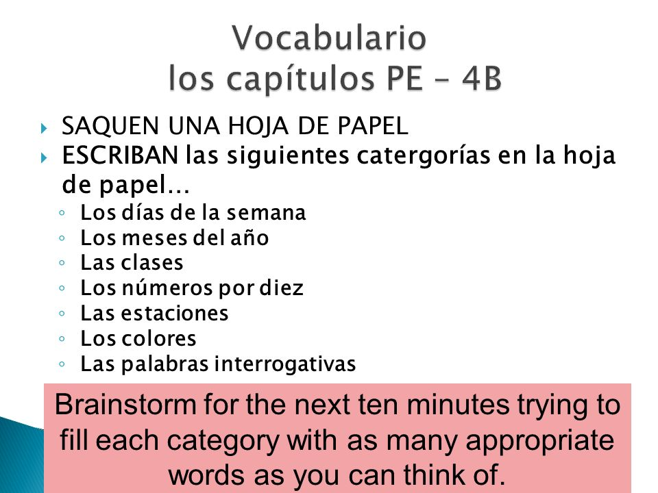 Vocabulario los capítulos PE – 4B