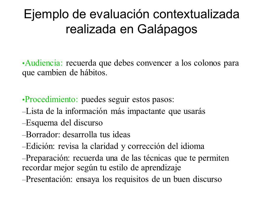 Ejemplo de evaluación contextualizada realizada en Galápagos