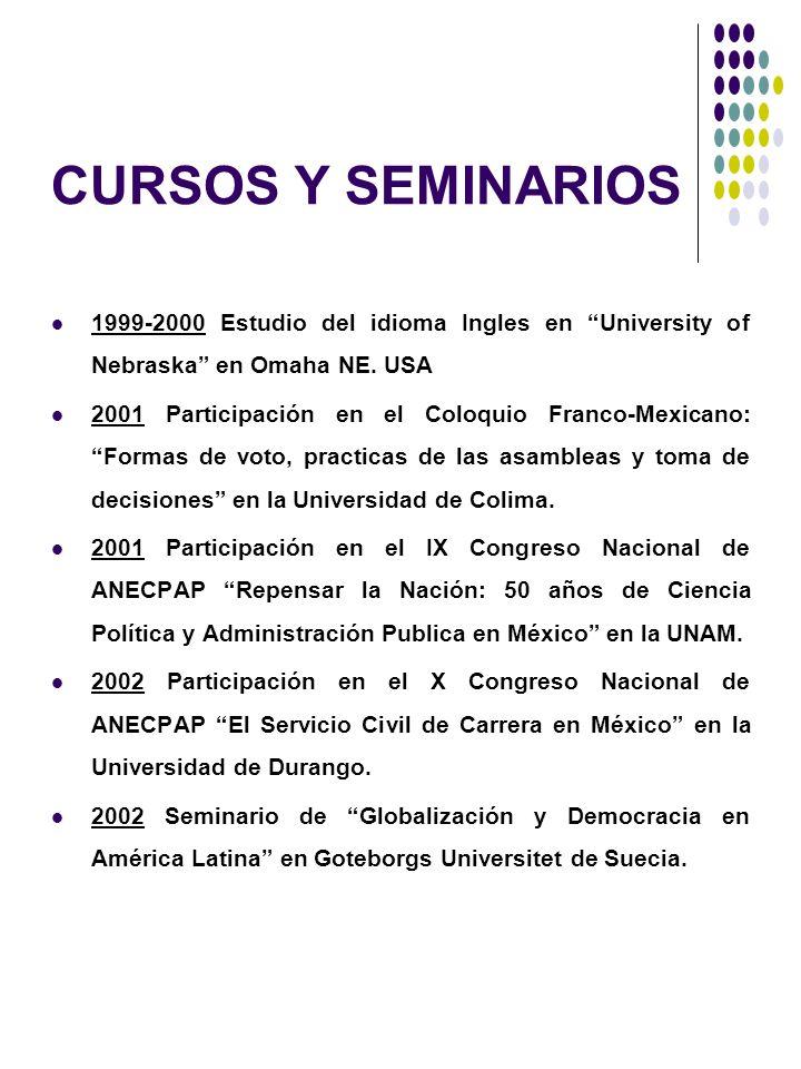 CURSOS Y SEMINARIOS1999-2000 Estudio del idioma Ingles en University of Nebraska en Omaha NE. USA.