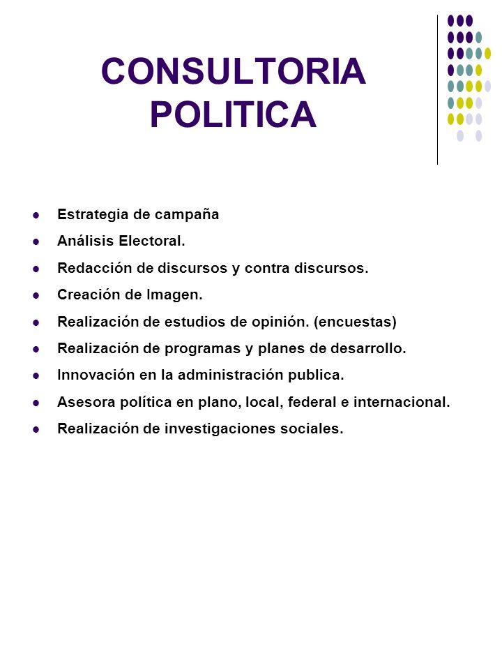 CONSULTORIA POLITICA Estrategia de campaña Análisis Electoral.