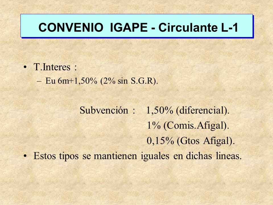 CONVENIO IGAPE - Circulante L-1