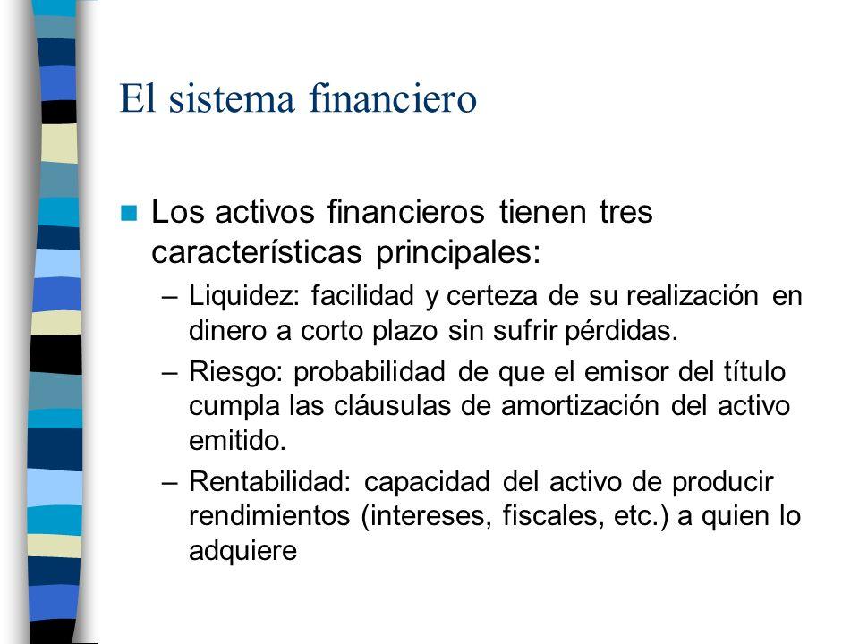 El sistema financiero Los activos financieros tienen tres características principales: