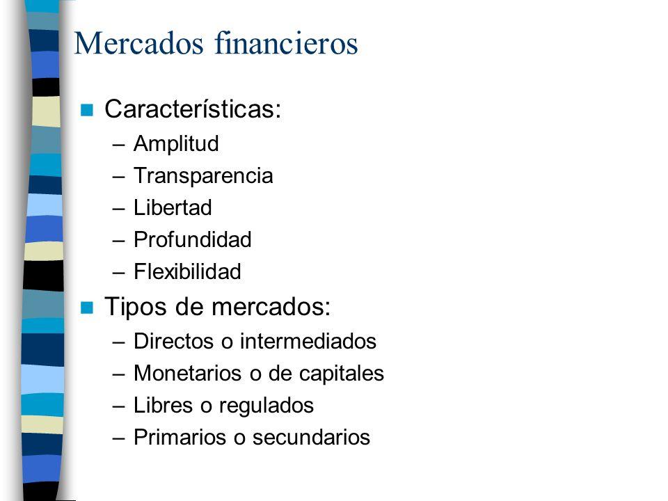 Mercados financieros Características: Tipos de mercados: Amplitud