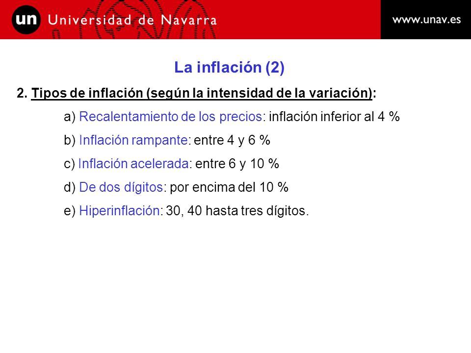 La inflación (2) 2. Tipos de inflación (según la intensidad de la variación): a) Recalentamiento de los precios: inflación inferior al 4 %
