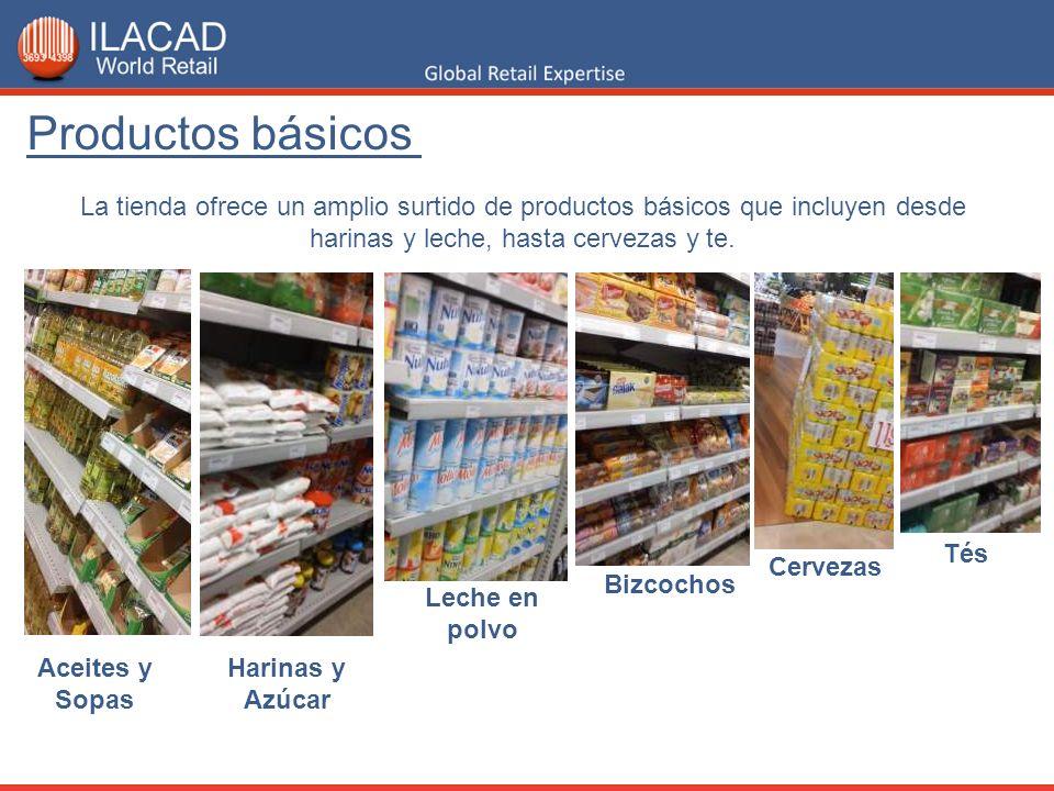 Productos básicosLa tienda ofrece un amplio surtido de productos básicos que incluyen desde harinas y leche, hasta cervezas y te.
