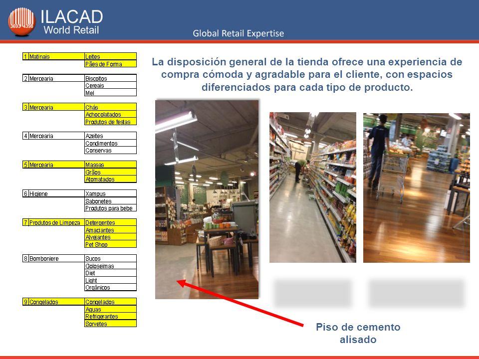 La disposición general de la tienda ofrece una experiencia de compra cómoda y agradable para el cliente, con espacios diferenciados para cada tipo de producto.