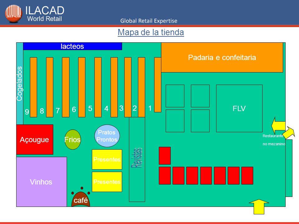 Mapa de la tienda lacteos Padaria e confeitaria Cogelados FLV 6 5 4 3