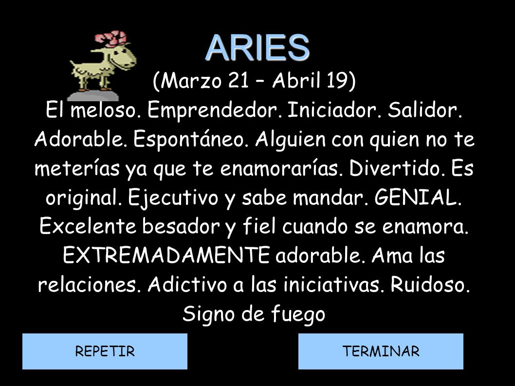 ARIES(Marzo 21 – Abril 19)