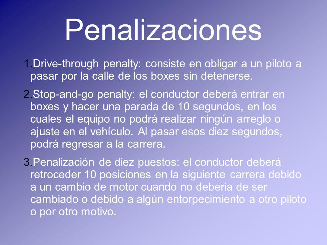 PenalizacionesDrive-through penalty: consiste en obligar a un piloto a pasar por la calle de los boxes sin detenerse.
