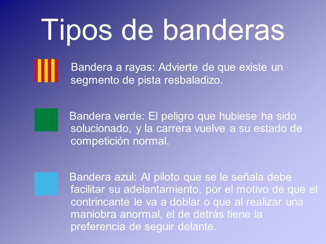 Tipos de banderasBandera a rayas: Advierte de que existe un segmento de pista resbaladizo.