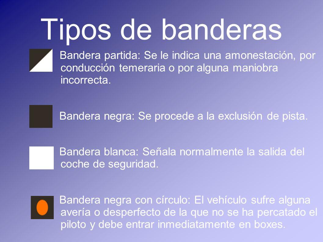 Tipos de banderas Bandera partida: Se le indica una amonestación, por conducción temeraria o por alguna maniobra incorrecta.