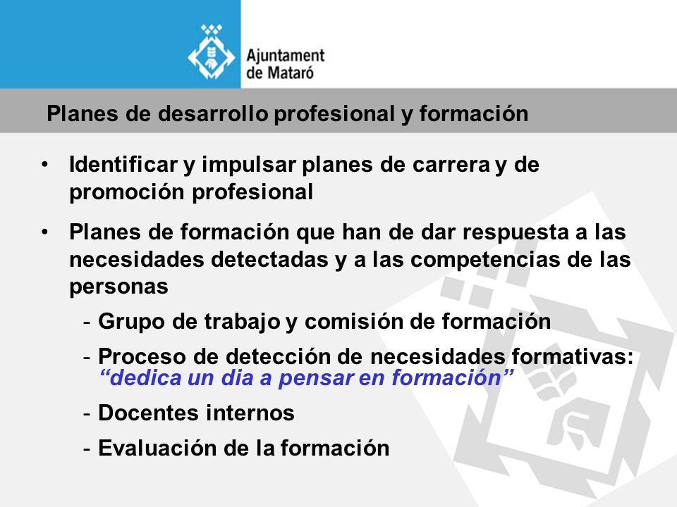 Planes de desarrollo profesional y formación