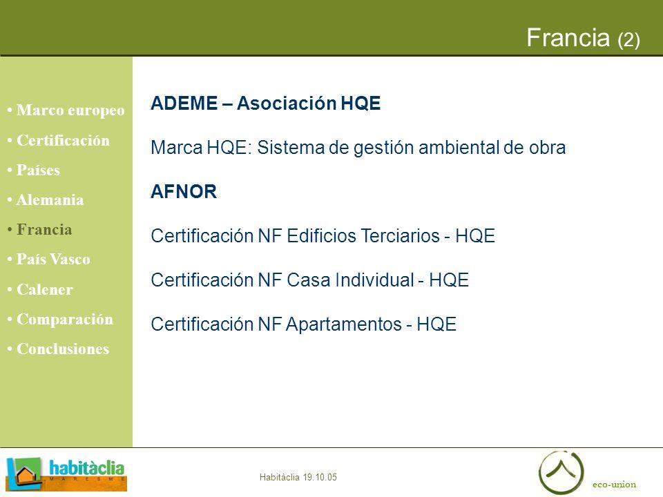 Francia (2) ADEME – Asociación HQE