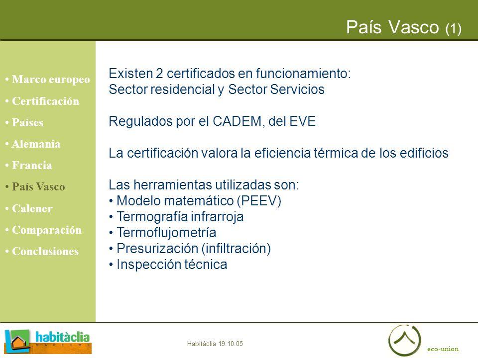 País Vasco (1) Existen 2 certificados en funcionamiento: