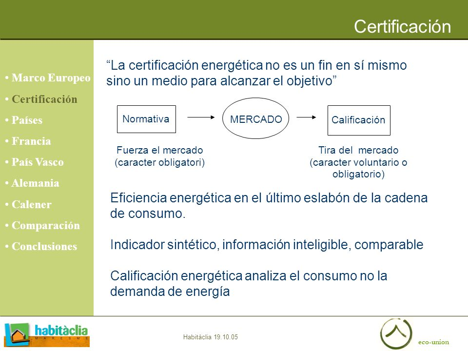Certificación Marco Europeo. Certificación. Países. Francia. País Vasco. Alemania. Calener. Comparación.