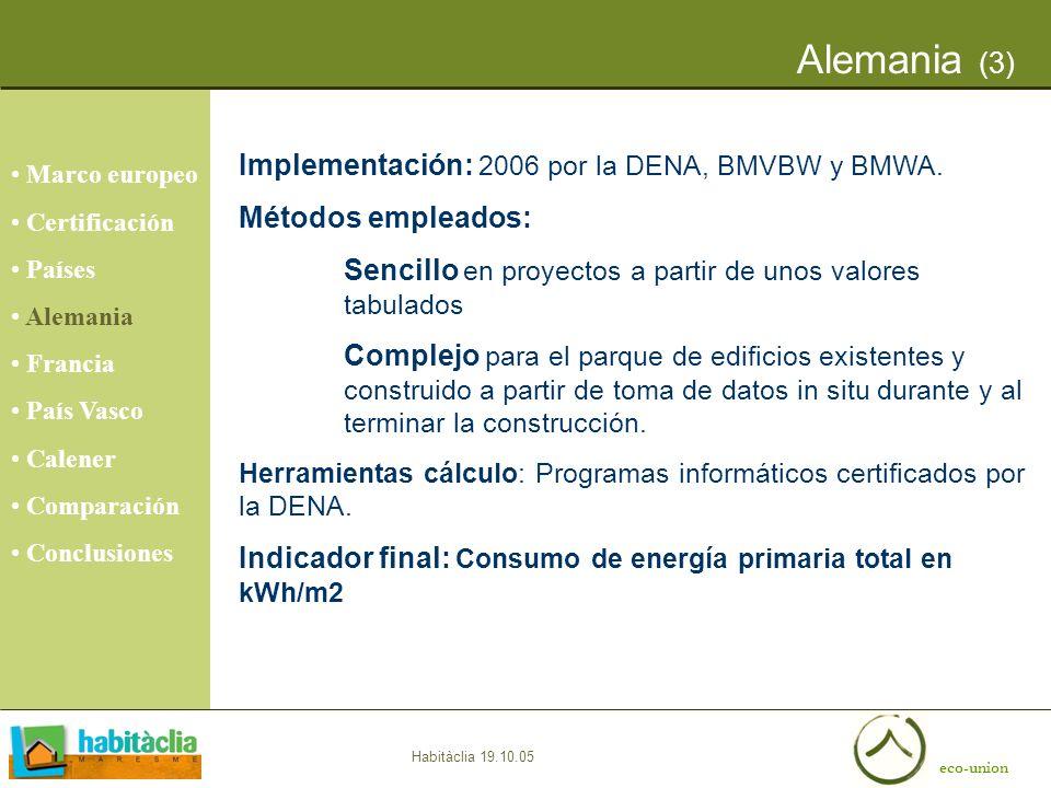 Alemania (3) Implementación: 2006 por la DENA, BMVBW y BMWA.