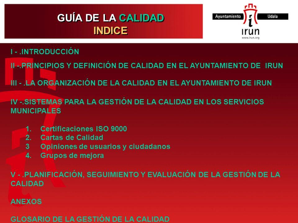 GUÍA DE LA CALIDAD INDICE