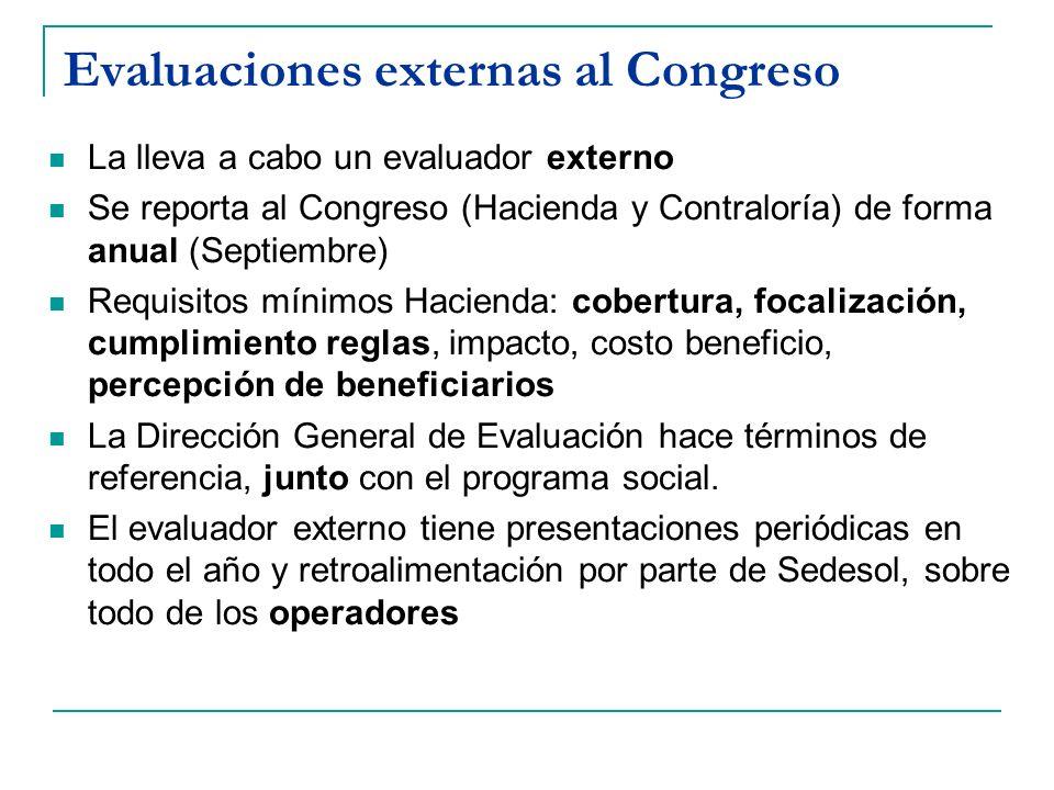 Evaluaciones externas al Congreso