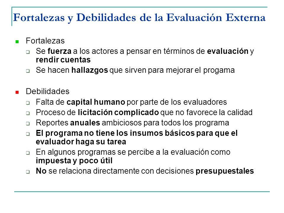 Fortalezas y Debilidades de la Evaluación Externa
