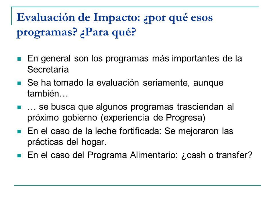 Evaluación de Impacto: ¿por qué esos programas ¿Para qué