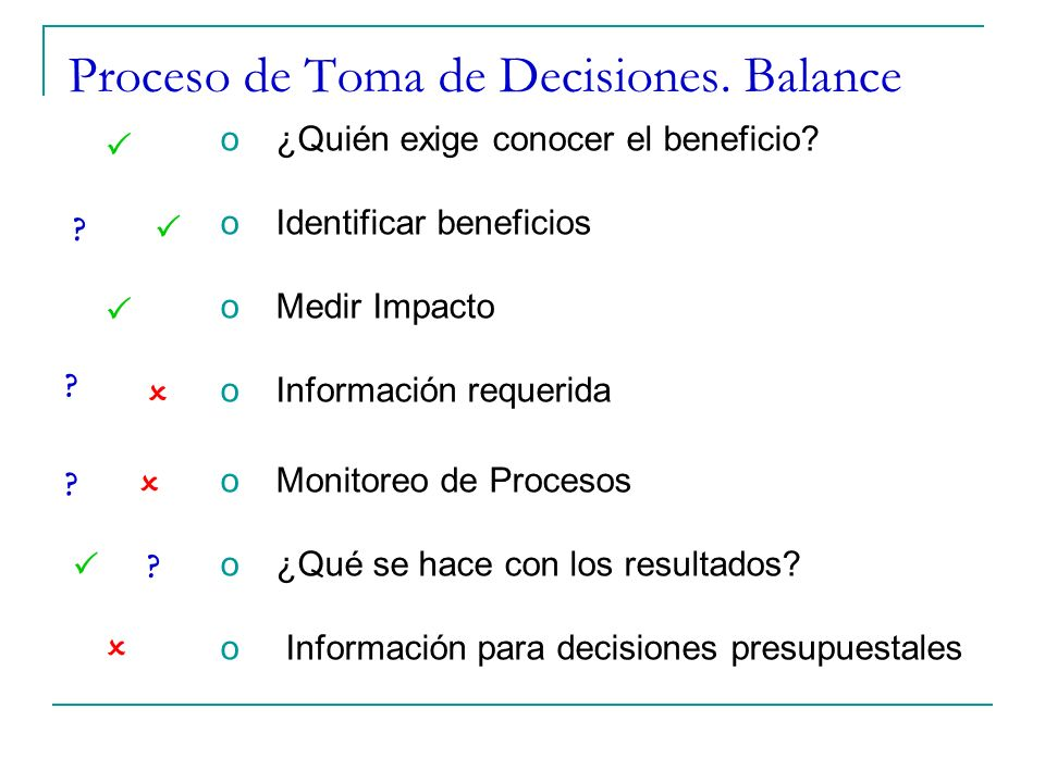 Proceso de Toma de Decisiones. Balance