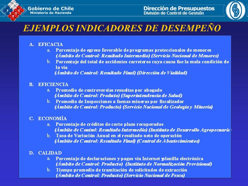 EJEMPLOS INDICADORES DE DESEMPEÑO