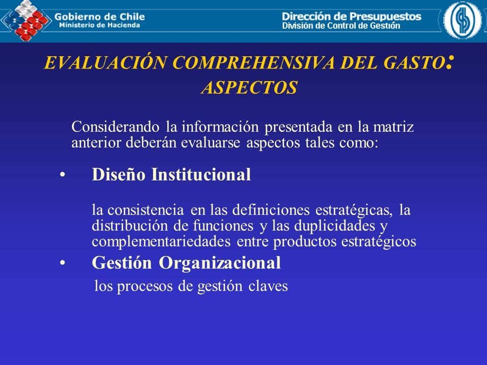 EVALUACIÓN COMPREHENSIVA DEL GASTO: ASPECTOS
