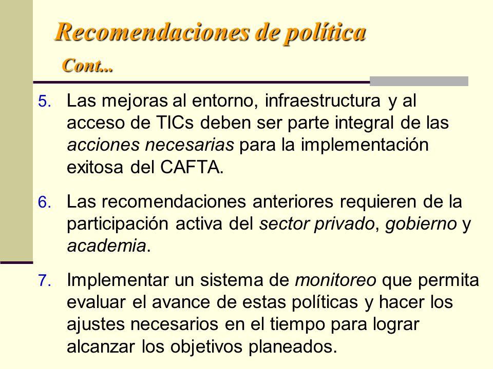 Recomendaciones de política Cont...
