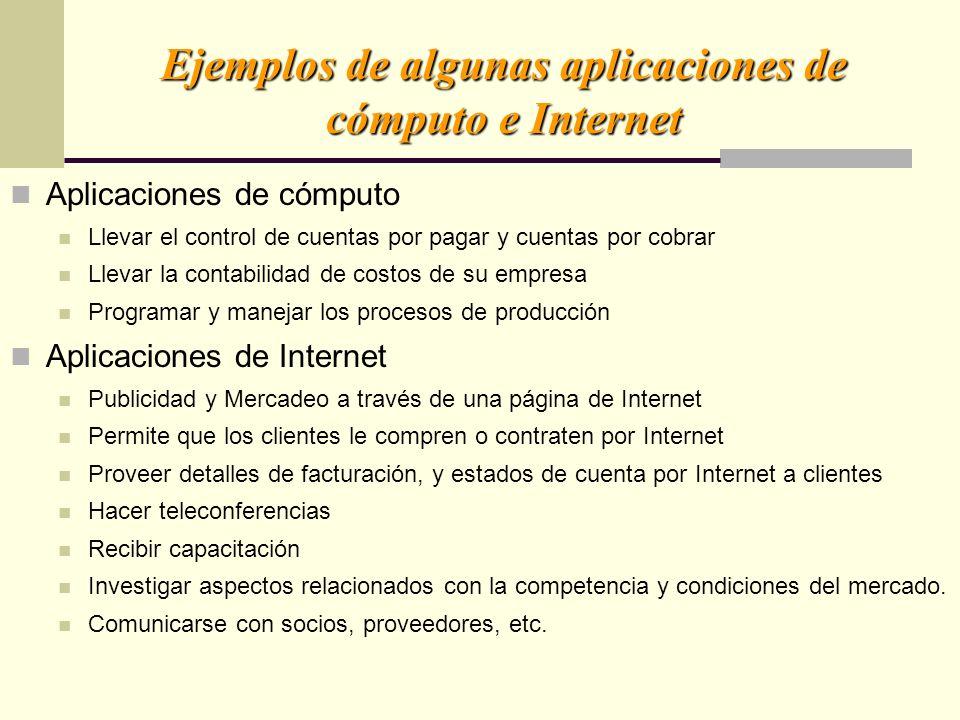 Ejemplos de algunas aplicaciones de cómputo e Internet