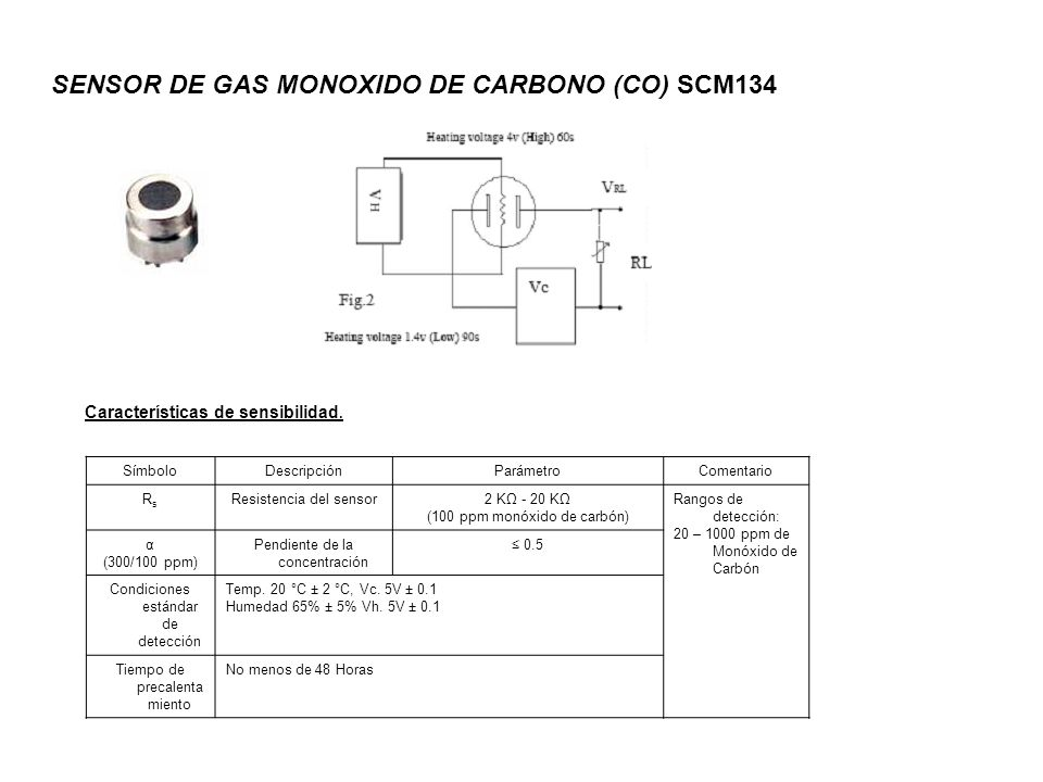 SENSOR DE GAS MONOXIDO DE CARBONO (CO) SCM134