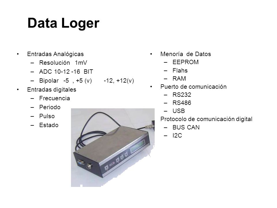 Data Loger Entradas Analógicas Resolución 1mV ADC 10-12 -16 BIT